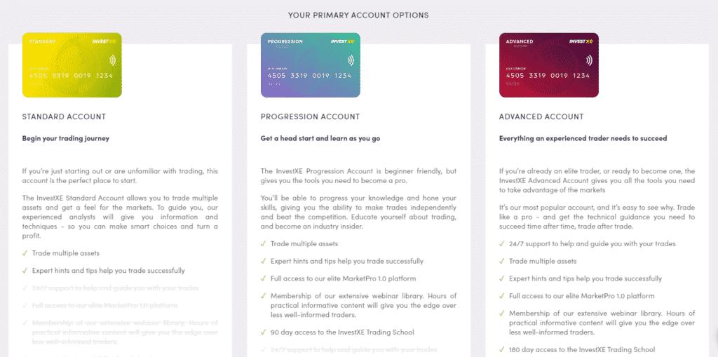 InvestXE Review- Primary Account Options